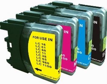 Brother Inkt cartridge LC-1100/980 BK/M/C/Y set van 4 pack