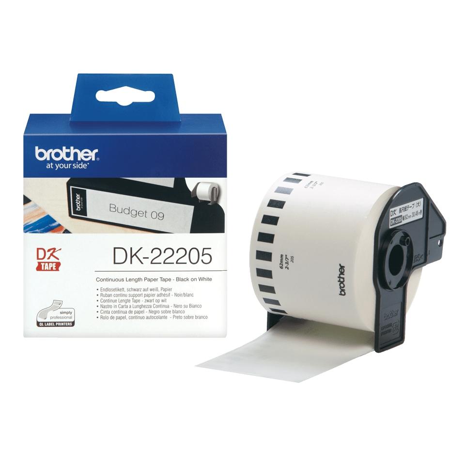 Originele Brother DK-22205 doorlopende labelrol zwart wit